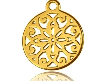 Gold-plated Charm Rosette Sterling Silver 925