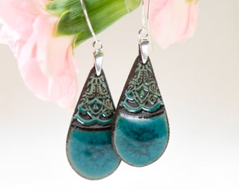 Turquoise dangle earrings Turquoise ceramic earrings on sterling silver hook earrings Long earrings turquoise and brown clay earrings unique