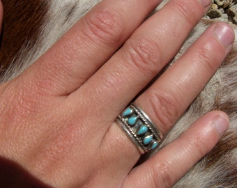 Vintage Taxco Mexico Sterling Silver Turquoise Enamel Ring