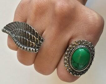 Green Stone & Angel Wing Statement Ring Set