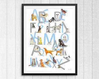 Dog Breeds ABC Alphabet Print