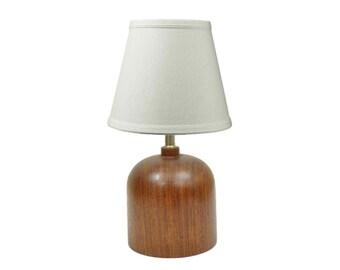 Vintage Mid Century Danish Modern Solid Staved Teak Small Boudoir Table Lamp