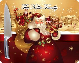 Santa Cutting Board, Personalized Christmas Cutting Board, Personalized Glass Cutting Board, Custom Glass Cutting Board,Christmas Decoration