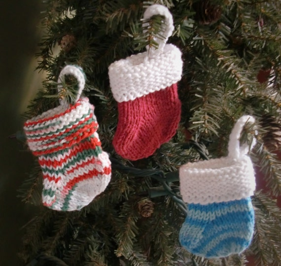 Knitted Afghan Patterns In Squares : Knitted Small Christmas Stocking Ornament Gift Card Holders