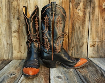 Vintage Tony Lama Cowgirl Boots, Black Leather with Teju Lizard Wingtips, Women's size 8