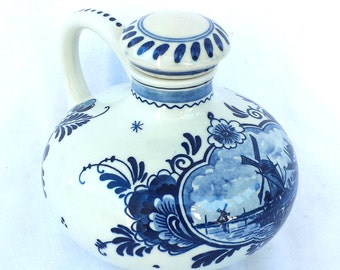 Delft Blue Hand Painted Bulbous Liqueur / Liquor Bottle BOLS Made in Holland