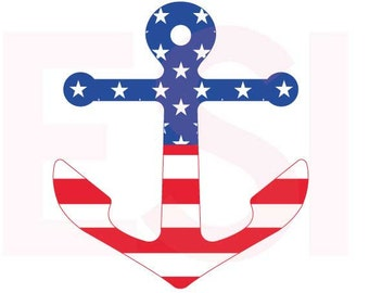 Anchor svg, American Flag svg, Memorial Day svg, Fourth of July svg,  SVG, DXF, EPS,  use with Silhouette Studio & Cricut Design Space