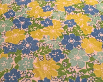 Vintage tablecloth floral kitsch Round tablecloth Terrycloth