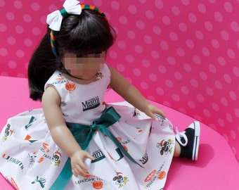 UM Girl doll dress this delightful in a UM print cotton fabric dress is made to fill ALL 18 inch dolls doll dress 18 inch doll toy dolls
