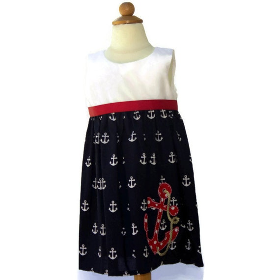 Baby girl dress in a Nautical theme fabric baby dress