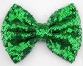 Emerald Green sequin bow, sequin, messy bow headband, sequin bow headband, floppy bow, popular headbands, newborn starter set