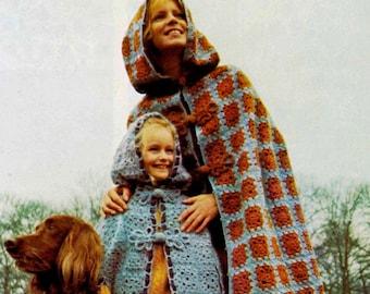 Crochet Cloak Pattern .. Ladies and Child's Cloak .. Instant Download .. Stylish, Smart Cape .. PDF Cloak Pattern ..  Granny Squares Pattern