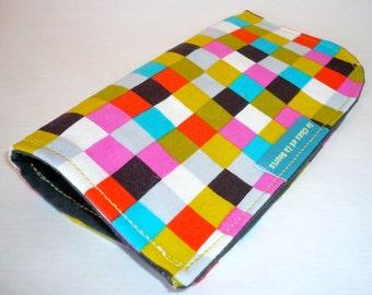 100% cotton sunglasses or smartphone protection case, multicolored blocks print