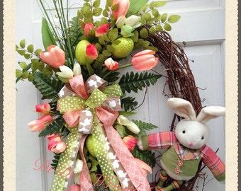 Easter Bunny Wreath-Spring Bunny Wreath-Spring Tulip Wreath-Spring Grapevine Wreath