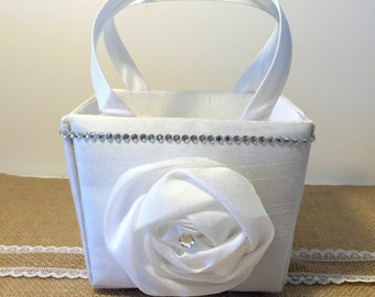 Flower Girl Basket Purse White Large Flower with Rhinestones
