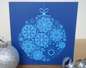 Snowflake Bauble Christmas Card pack of 4