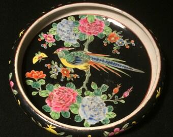 "Japanese Famille Noire Porcelain Hand-Painted 9"" Bowl"