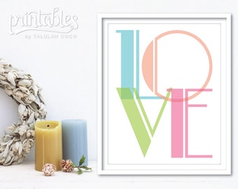 Pastel Love Art Print - Printable Love Sign - Love Wall Art - Love Typography Art - Love Print - Printable Love Artwork - Instant Download