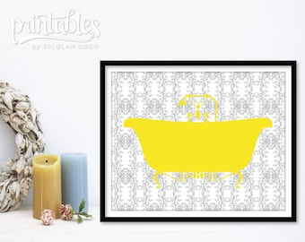 Customizable Bathroom Art - Bathtub Print - Vintage Bath Tub Wall Art - Yellow Bathroom Decor - Shower Art Print - Bath Sign Printable Decor
