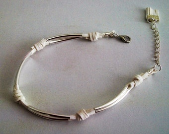 White leather strap suede with tubes spacers silver for men