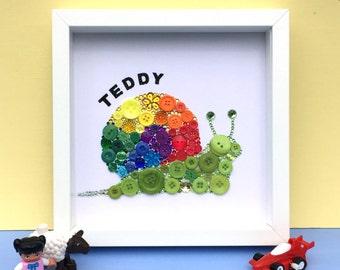 Personalised rainbow snail - nursery art - snail button art