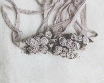 Mocha silk rose tieback