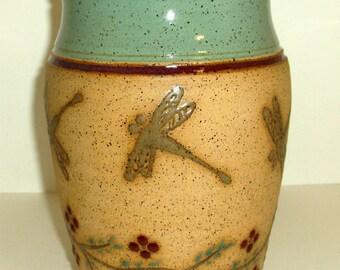 Stoneware Dragonfly Vase