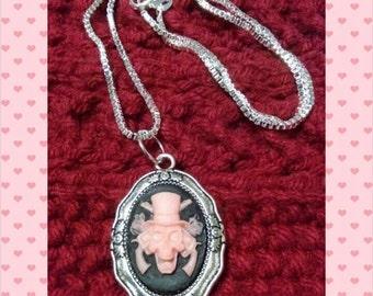 Necklace - pink skeletal gunslinger cameo - 18 inches