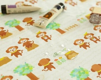 "Waterproof fabric by the yard Growing monkey _Ivory_59"" SAM 148924"