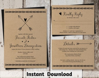 Wedding Invitation Template - Printable Set | Boho Heart & Arrow Suite on Kraft Paper | Rustic Bohemium Editable PDF | DIY Instant Download