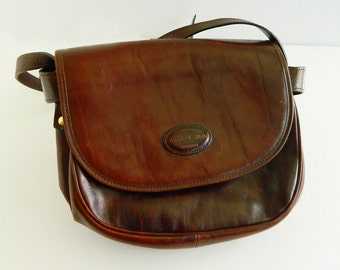 NEW Burke & Willis Chocolate Brown Leather Purse, Messenger Bag, Dead Old Stock, NWT, Australia, Landmark, Laimbok, Velvet Interior