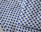 Cotton Fabric in Block Print - Soft Cotton by the yard - Hand block printed Cotton Fabric - Vegetable Dye Fabric in Blue on white background
