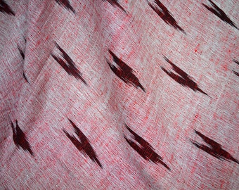 Red Grey Ikat Fabric, Cotton by the yard, Handloom Ikat Cotton Fabric, Homespun Cotton, Ikat Upholstery Fabric, Handwoven Ikat