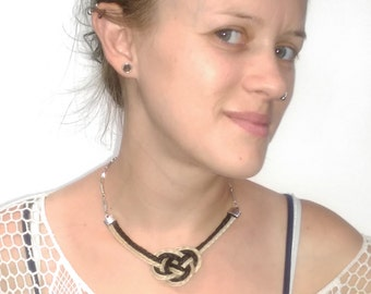 BRAIDED HORSEHAIR KNOTTED, Necklace, Vintage Chain, Josephine Knot