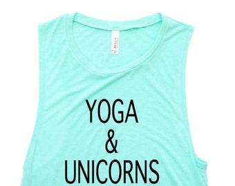 Womens Clothing- YOGA & UNICORNS. Workout Tank Top, Workout Shirt, Yoga Shirt, Yoga Tank, Bachelorette Party Shirts, Workout Clothes, Tank