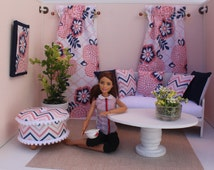 Blythe/Barbie Dollhouse- Pink/Blue Curtains, Pillows, Ottoman, 1:6 Scale Accessories, Contemporary Floral and Chevron Print
