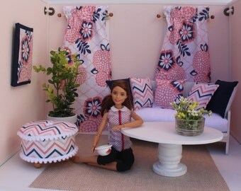 Blythe/Barbie Dollhouse- Miniature Pink/Blue Curtains, Pillows, Ottoman, 1:6 Scale Accessories, Contemporary Floral and Chevron Print