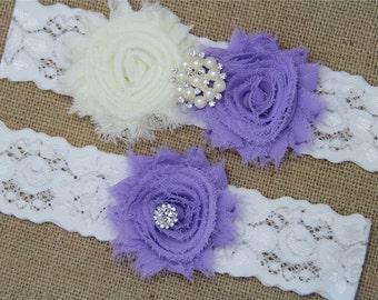 Ivory and Lt.Orchid Wedding Garter,Bridal Garter Set,Keepsake Garter,Toss Garter,Ivory Lace Garter,Ivory Wedding Garter Belt - 433