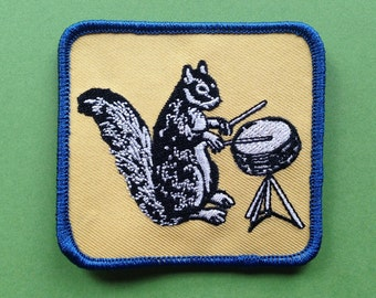 Ferdinand Drumming Squirrel Embroidered Patch
