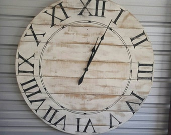 18in Norah reclaimed wood farmhouse-style wall clock with white distressed finish and Roman numerals. Fixer upper style clock, shiplap clock