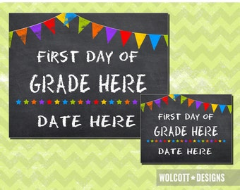 First Day of School Sign, 1st Day of Preschool, Chalkboard First Day, First Day of Editable Sign, Instant Download, PDF