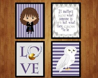 Hermione Girls Room Decoration- Harry Potter Girls Room, Hedwig Girls Room Decor, Hedwig Poster, Hermione Poster, Girls room decor PRINTABLE