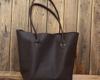 Leather tote bag Women's Tote Shoulder Bag Handmade leather tote Dark brown tote bag
