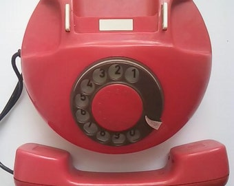 Vintage red rotary telephone, Soviet Union working table dial phone, 1980s USSR, Phone Office,  Home Decor