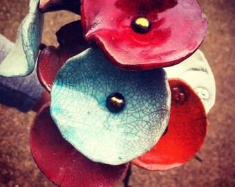 Raku ceramic flowers