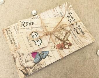 50 Rustic Alice in Wonderland! Vintage Shabby Chic Wedding Invitations Bundles DIY!