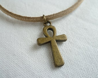 Ankh choker,choker necklace,ankh jewellery,ankh necklace,egyptian cross,cross choker,cross necklace,cross jewelry,gift,handmade,bronze ankh