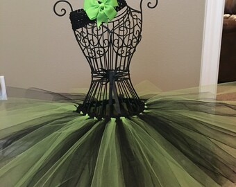 Lime green and black tutu set