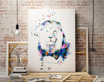Lion Africa Watercolor animal print  - abstract poster - illustration -Digital wall art Print - painting - Home decor