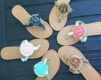 Monogrammed Discs for Sandals, Monogrammed Disks for Sandals, Monogrammed Sandals, DISKS NOT SHOES, Low Shipping, Sale!